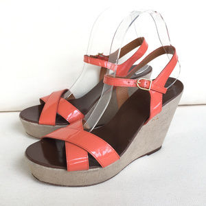 J Crew 9 Orange Coral Patent Leather Wedge sandals